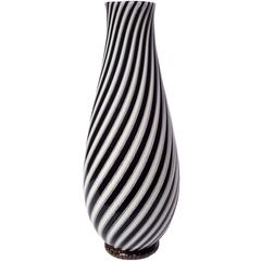 Dino Martens Murano Black White Gold Italian Art Glass Flower Vase