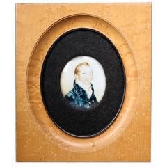 Early 19th Century Miniature Portrait Porcelain Painting c. 1810-1820