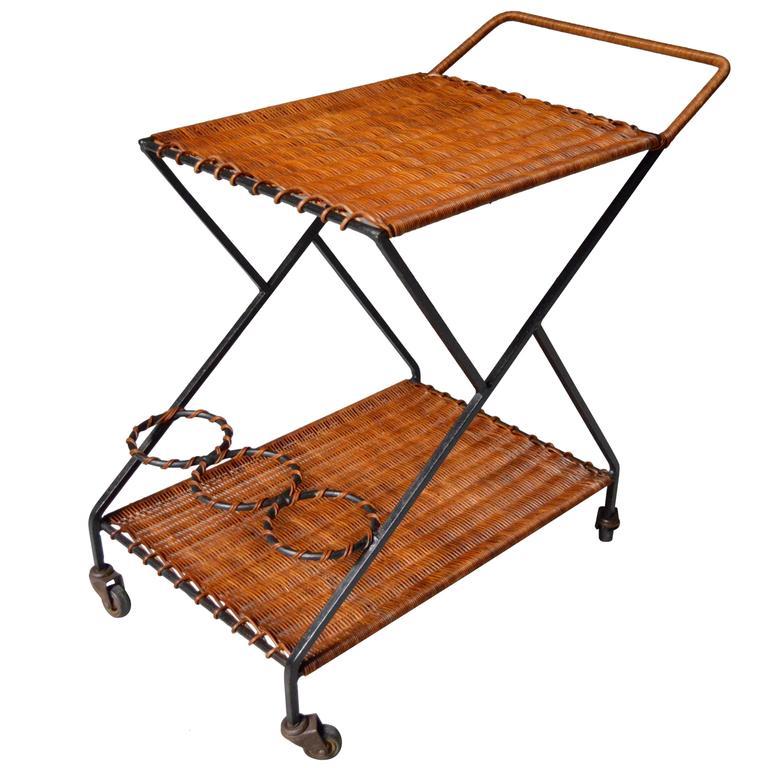 French Rattan Bar Cart