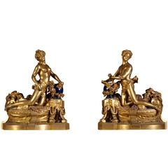 Pair of Andirons Exhibited at the World's Fair of 1900 by Bouhon Brothers