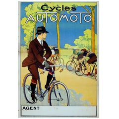 Original Vintage 1920s Poster for Automoto Motos, Bicycles & Motorcycles France