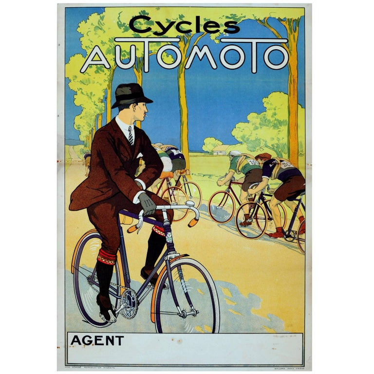Original Vintage 1920s Poster for Automoto Motos, Bicycles & Motorcycles France For Sale