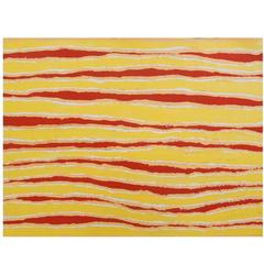 Australian Aboriginal Warm Yellow and Red Stripe Acrylic Painting on Canvas