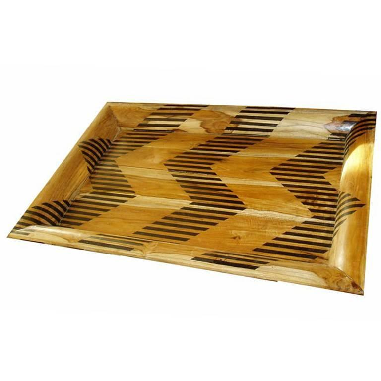 Large Wood Tray with Chevron Pattern