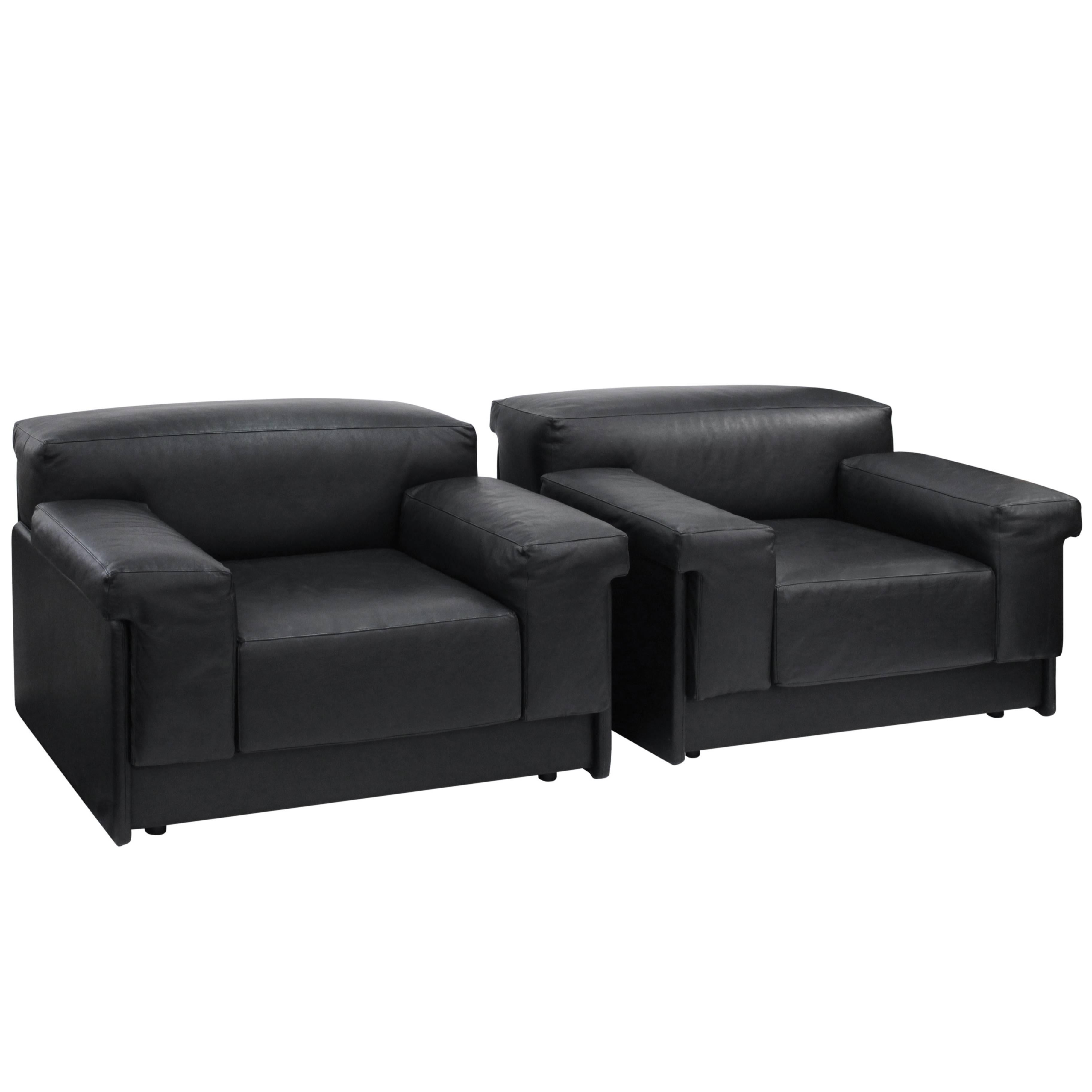 """Pair of """"Raphael Lounge Chairs"""" in Black Leather by Harvey Probber"""