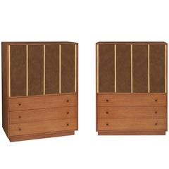 Pair of Wardrobes in Mahogany and Leather by Harvey Probber