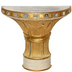 A Serge Roche Style Demilune Giltwood Console with Mirrored Top