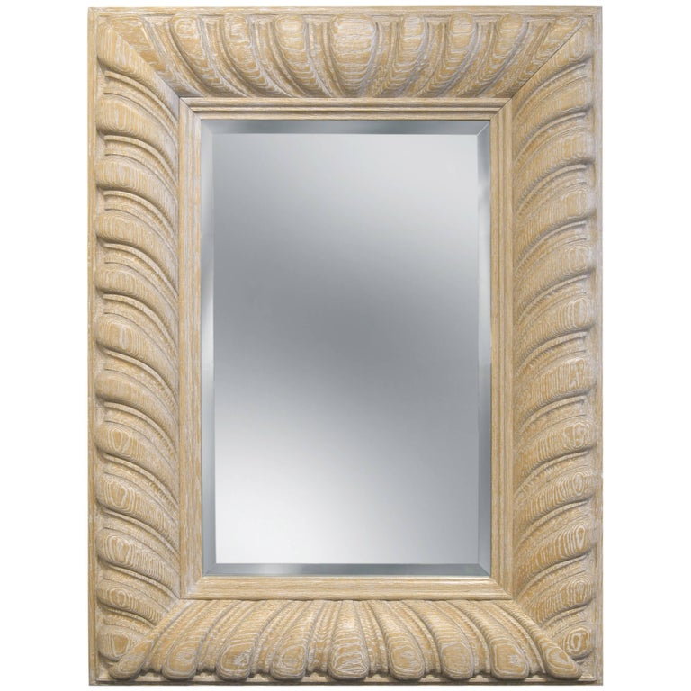 """Luten-Clarey-Stern """"Bolton Carved Mirror"""" in White Rubbed Oak 1980s For Sale"""