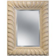 "Luten-Clarey-Stern ""Bolton Carved Mirror"" in White Rubbed Oak 1980s"