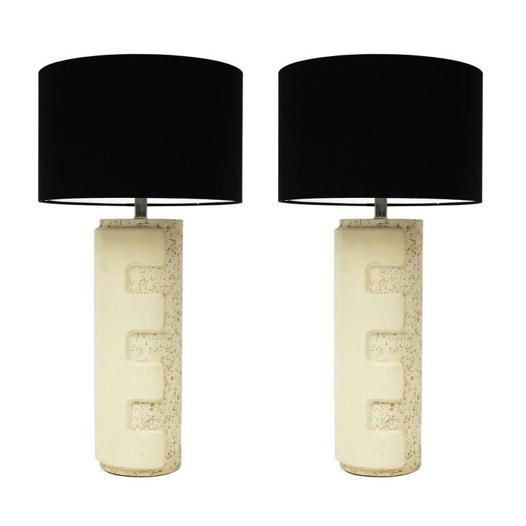 Pair of Large 1970s Brutalist Ceramic Table Lamps