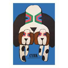 1960s Polish Cyrk Circus Dog Poster
