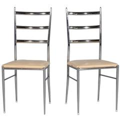 Pair of Vintage Ladder Back Chairs in the Manner of Gio Ponti
