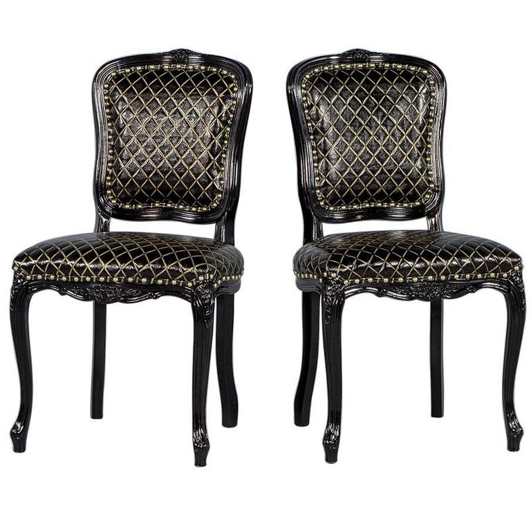 Pair of Monark Accent Chairs in Embossed Black with Gold