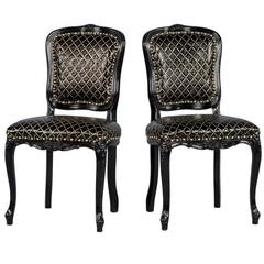 Pair of Monark Accent Chairs in Embossed Black with Gold Leather