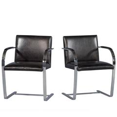 Pair of Chrome and Black Leather Armchairs Attributed to Milo Baughman