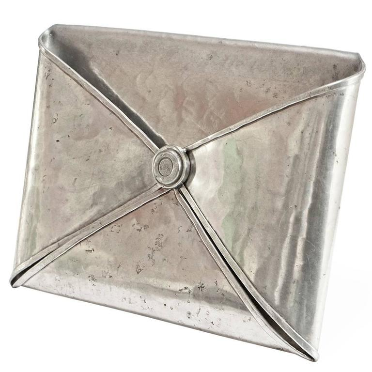 1970s Envelope Shaped Pewter Letter Holder by Jean Goardere For Sale