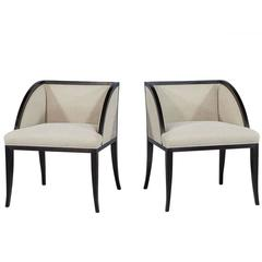 Pair of Baker Palerme Side Chairs with Ebonized Finish