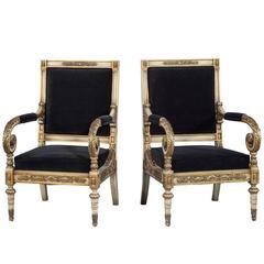 Pair of Louis XV Black Velvet Bergere Chairs
