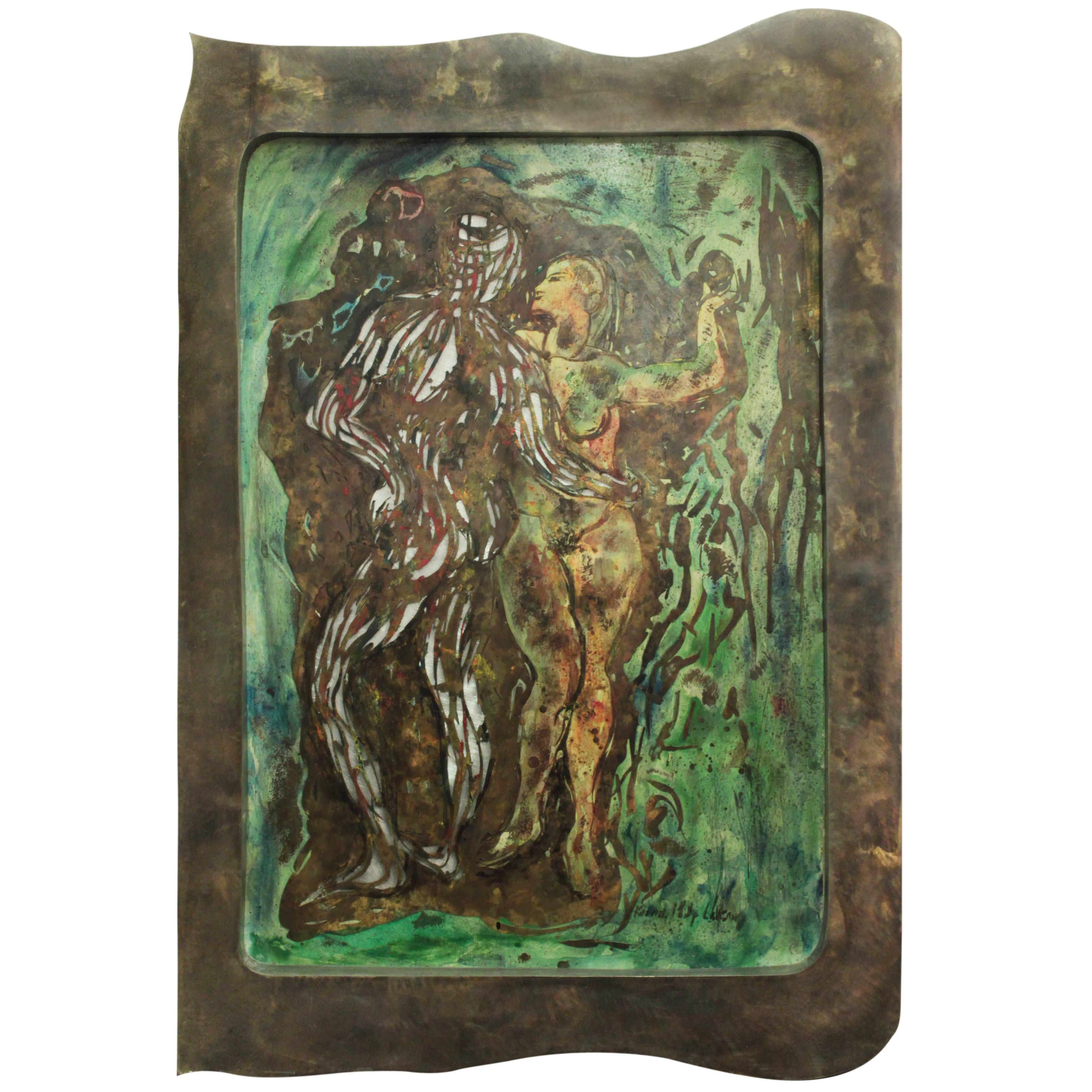 """Large """"Adam and Eve"""" Wall Sculpture by Philip and Kelvin LaVerne"""