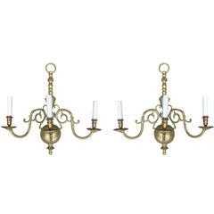 Pair of 20th Century Jumbo Dutch Three-Light Brass Sconces