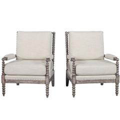 Pair of Spool Lounge Chairs in Soft Taupe Linen