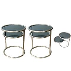 Stylish Pair of French Chrome and Glass Circular Side Tables