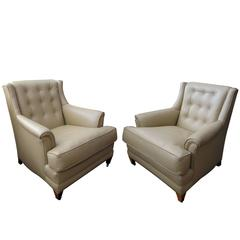 Stylish Pair of American 'His & Hers' Club Chairs w New Tan Leather Upholstery