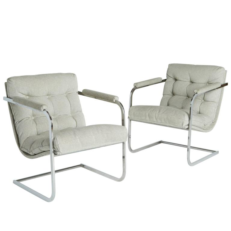 Pair of Milo Baughman Style Cantilevered Tufted Lounge Chairs at 1stdibs