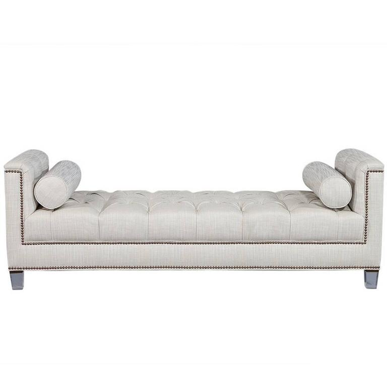 Carrocel Custom Lucite Tufted Daybed With Brass Nail Trim