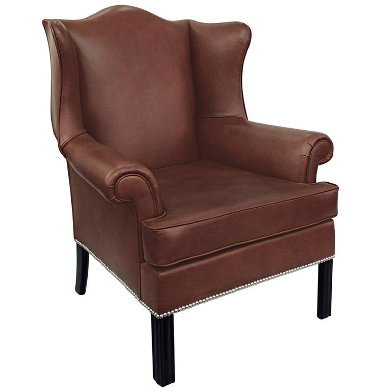 Small-Scale Leather Wing Chair by Edward Wormley for Dunbar For Sale
