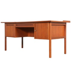 Danish Modern Executive Teak Desk with Bookshelf Back