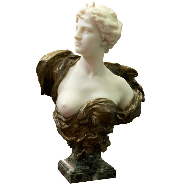 19th Century French Ormolu and White Marble Bust of Diana by Henri Weigéle 1