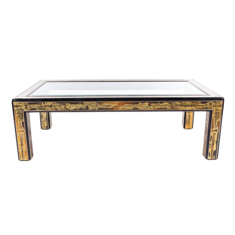 Mastercraft Coffee Table in Acid-Etched Brass by Bernhard Rohne, Circa 1970s