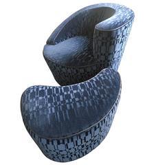 Vladimir Kagan Nautilus Chair with Ottoman in Hermès Velvet Fabric