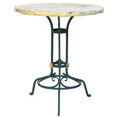 French Painted Iron and Faux Terra Cotta Garden Table