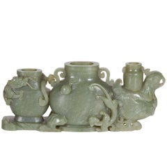 Antique Chinese Celadon Green Jade Carving, Triple Vase, Qing Dynasty