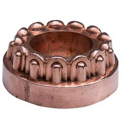 French Copper Fancy Border Ring Mould by Dehillerin, 19th Century