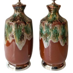 Pair of Glazed Porcelain Table Lamps