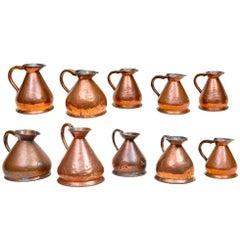 Set of Ten 19th Century Copper Jugs