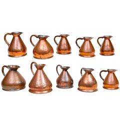 Set of Ten 19th Century Copper Jugs