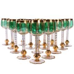 Set of 16 Ornate Hand-Painted Gilt Embellished Goblets