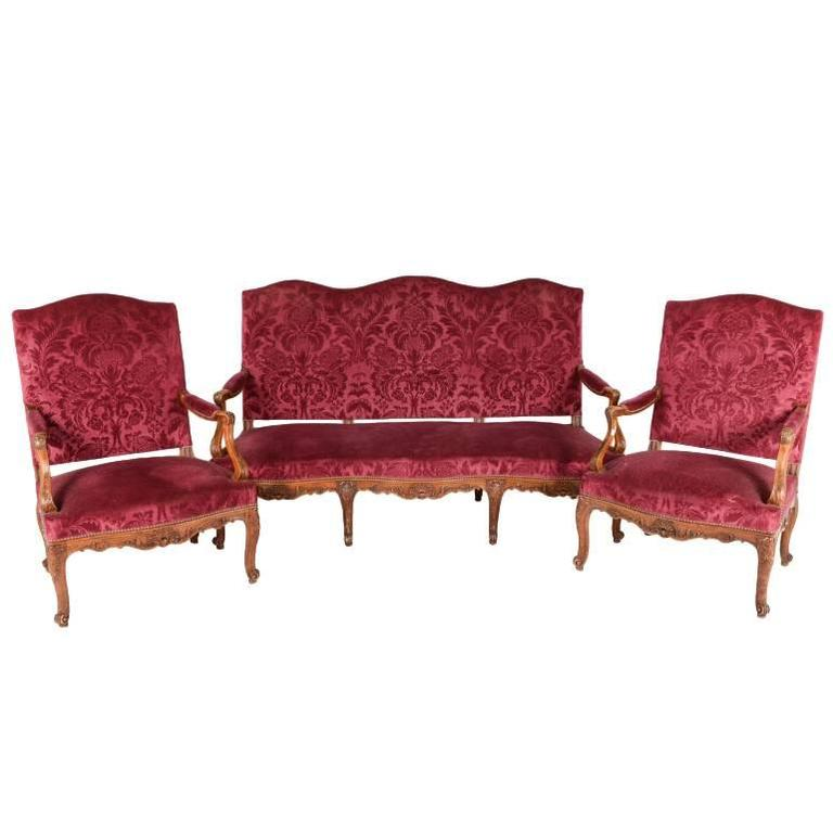 French carved oak framed louis xv style salon suite at 1stdibs for Salon louis xv