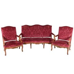 French Carved Oak Framed Louis XV-Style Salon Suite