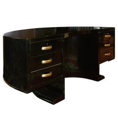 1940s Half-Moon Black Desk by Jacques Adnet