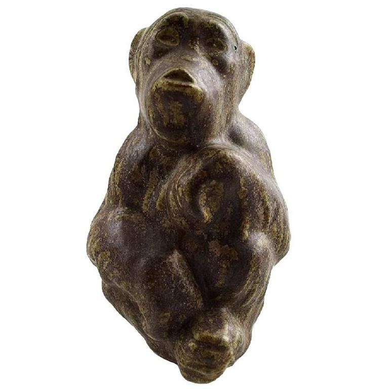 Rare Arne Bang, Ceramics, Chimpanzee, Hallmarked AB 81, 1940s