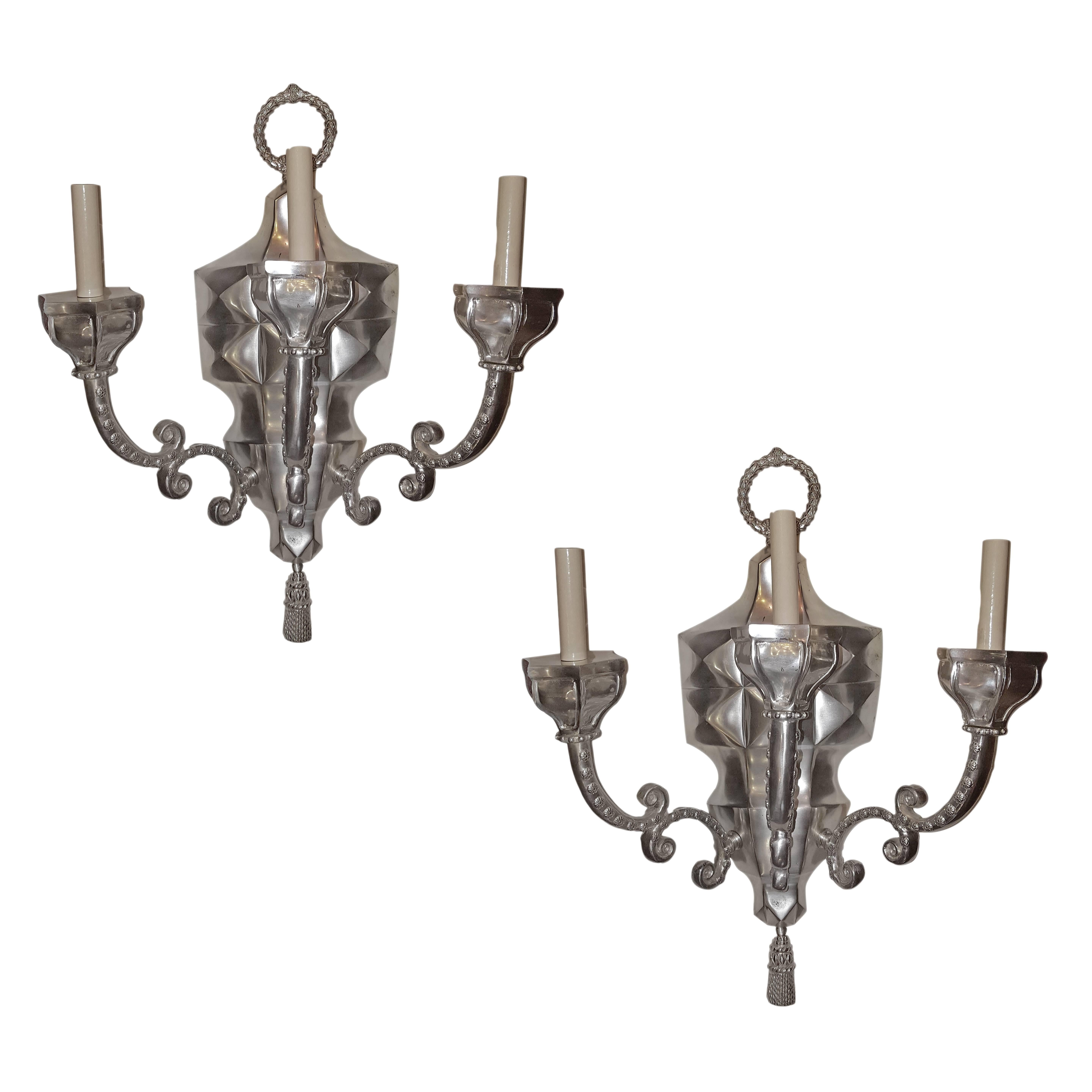 Set of Four Large Silver Plated Sconces