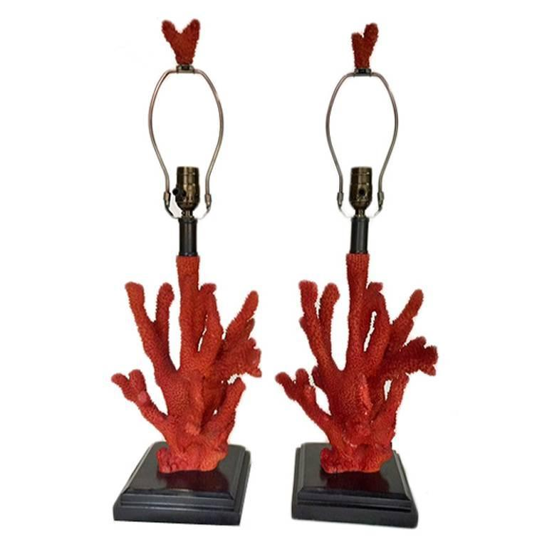 Pair of Faux Coral Shaped Table Lamps