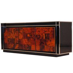 Double Sided Burl Wood, Chrome and Lacquer Sideboard, Italy, 1970s