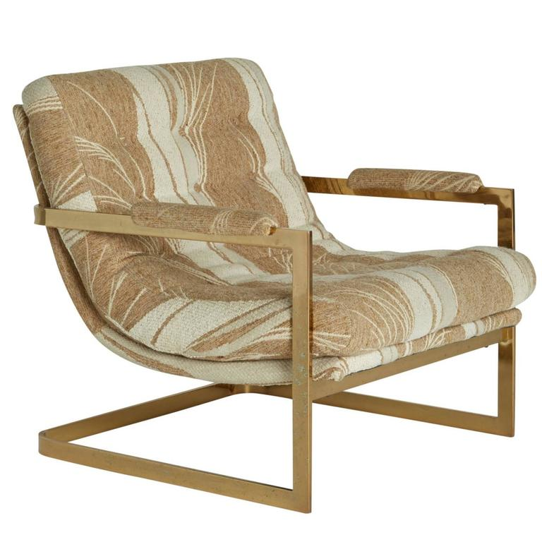 """Cantilevered Brass """"Swoop"""" Chair Attributed to Milo"""