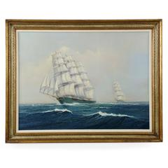 """Earl Collins Nautical Marine Oil Painting on Canvas, """"Clipper Northern Eagle"""""""